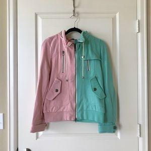 Modcloth mint pink colorblock hoodie, size L